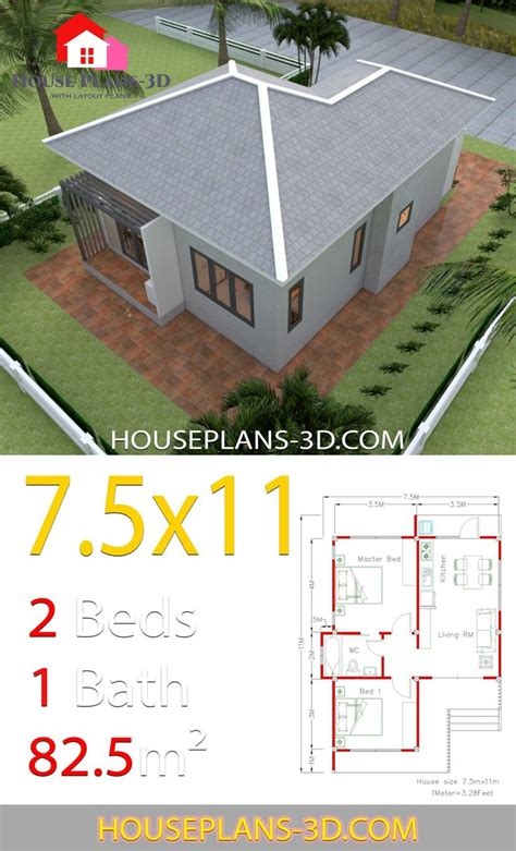 House Design Plans 7 5x11 with 2 Bedrooms Hip roof Full