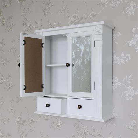 shabby chic bathroom wall cabinet white wooden mirrored bathroom wall cabinet shabby vintage chic cupboard storage ebay