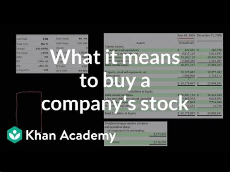 means  buy  companys stock video khan academy
