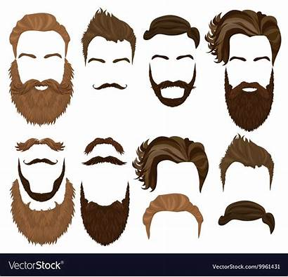 Beard Hair Vector Mustache Illustration Realistic Hipster