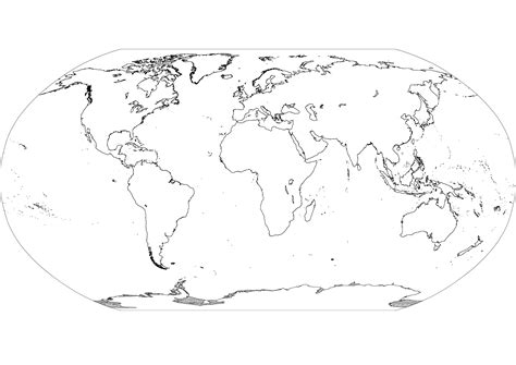 Blank World Map Continents Black and White