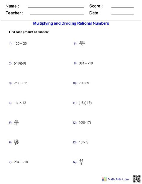 Multiplying And Dividing Rational Numbers Worksheets  Mathaidscom  Algebra, Algebra 2