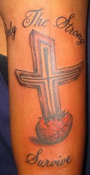 strong survive grey ink cross  tattoo