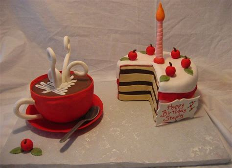 7 birthday cake ideas inspired by fantasy fictions (geeky but delicious!)   recently. Birthday Cake with Coffee Mug or Hot chocolate mug - Whimsical Birthday cake with coffee cup ...