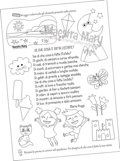 Scheda di Italiano con poesia dedicata all estate