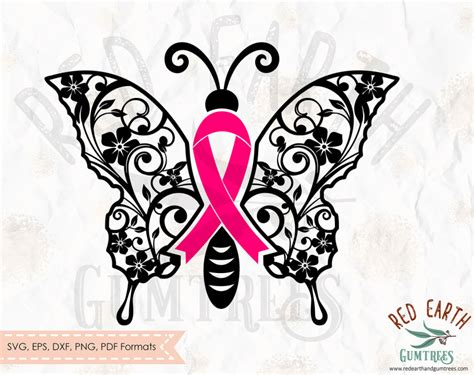 butterfly cancer ribbon  floral butterfly cancer ribbon survivor  svg eps  dxf