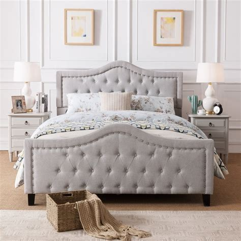 queen bed frame set shop virgil upholstered tufted fabric size bed set 16900