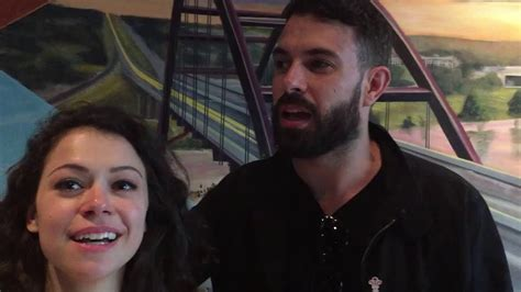 tom cullen youtube tatiana maslany and tom cullen say what giant animal they