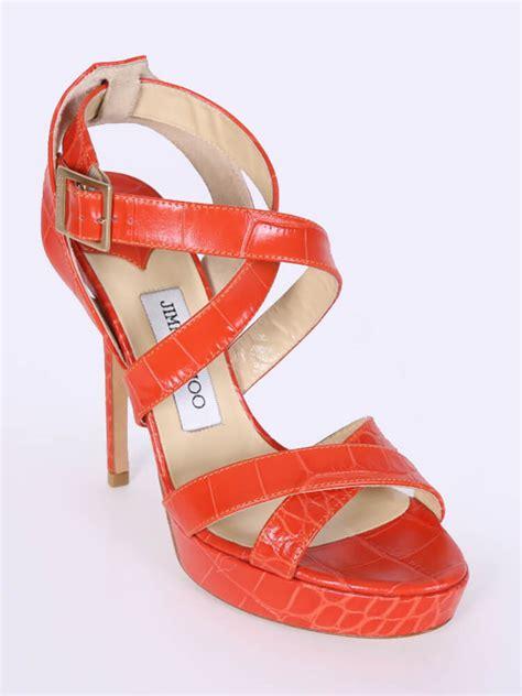 jimmy choo vamp croco style strappy heel sandals orange