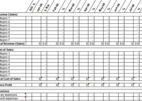 month profit  loss projection template  excel