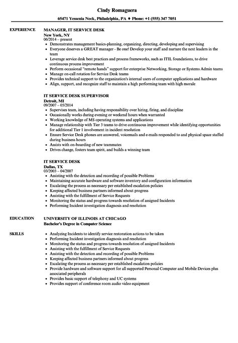 it service desk resume sles velvet