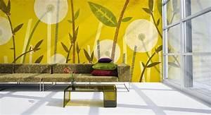 Papier Peint Moderne Salon : salon avec papier peint floral d coration salon d cor de salon ~ Melissatoandfro.com Idées de Décoration