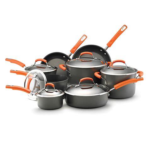 cookware anodized hard non stick vs pans pots pot cooking pan nonstick ray rachael sets kitchen rachel aluminum skillet orange