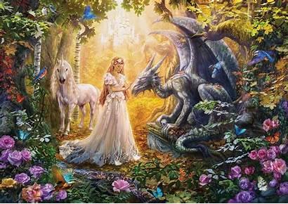 Dragon Unicorn Princess Krasny Fantasy Puzzle Patrik