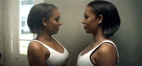 requisite s of mel b making out with herself in her new video
