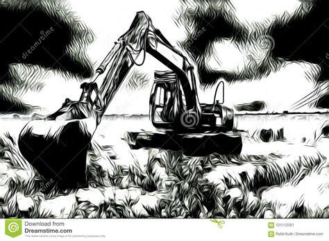 excavator illustration color art design abstract drawing stock illustration illustration