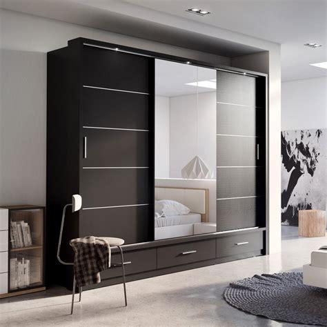 Bedroom Set With Wardrobe Closet by Sliding Door Wardrobe Arti 1 With A Mirror 250cm Black