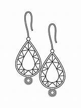 Earring Coloring Outline Earrings Pearl Jewelry Clipart Sheet Gems Colorear Dibujos Template Pendientes Vector Icon Escolha Qual Seu Estilo Brinco sketch template