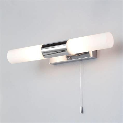 glass bathroom wall light 2 light pull cord switch