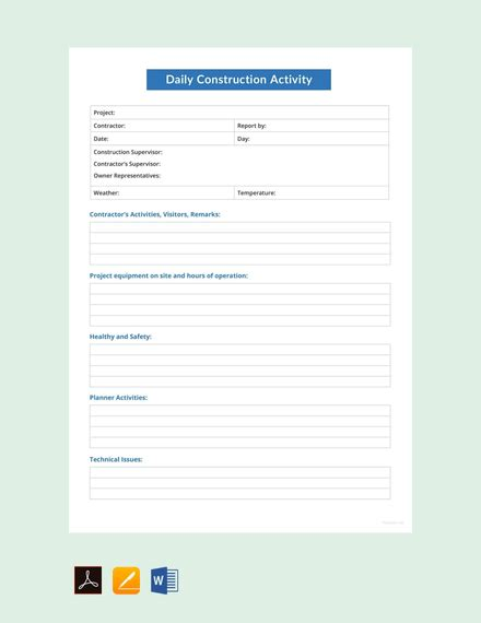 Construction Subcontractor Daily Report Template by Free Subcontractor Daily Report Template Download 154