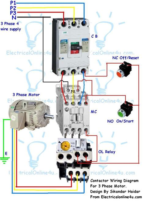 key drop box contactor wiring guide for 3 phase motor with circuit