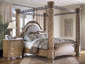 Black Wooden Canopy Bed With Head And Foot Board Connected