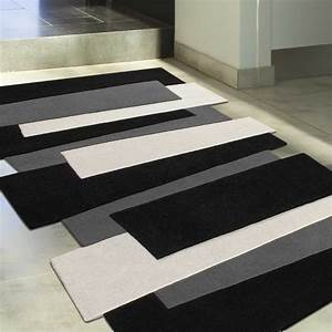 tapis noir blanc gris idees de decoration interieure With tapis gris blanc