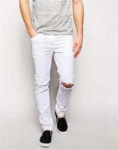 Mens White Ripped Jeans - Bod Jeans