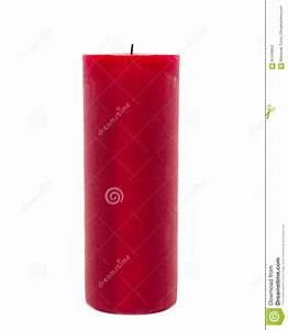 Red Candle Isolated In Front Of White Background Stock ...