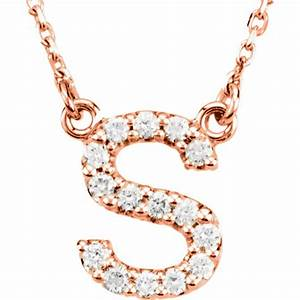 14kt rose gold letter s 1 6 ct diamond 16in necklace jj67311rs With letter s necklace rose gold