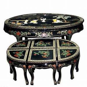 Table Basse Chinoise : tables basse chinoise laqu e et ses 6 tabourets avec ~ Melissatoandfro.com Idées de Décoration