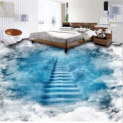 unique design staircase   clouds print waterproof