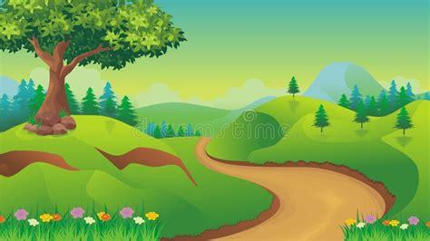 Nature Landscape, Cartoon Game Background Stock Vector ...