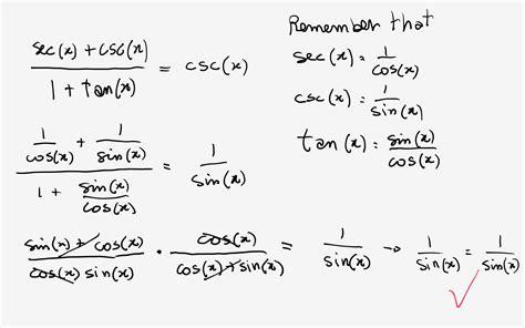 How Do You Prove [sec(x) + Csc(x)] / [1 + Tan(x)] = Csc(x