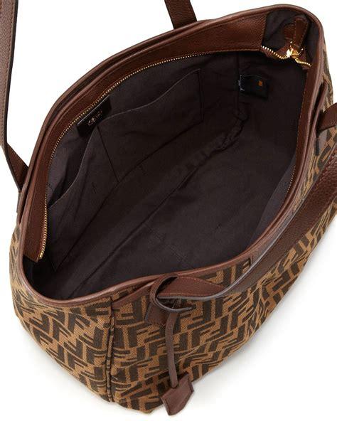 Fendi Zucca Grande Shopping Tote Bag in Brown - Lyst