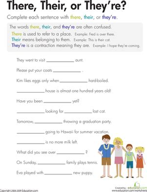 there their or they re grade spelling worksheets and third