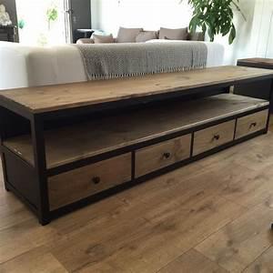 Meuble Bois Et Noir : meuble tv acier noir et bois 4 tiroirs salons cozy ~ Melissatoandfro.com Idées de Décoration