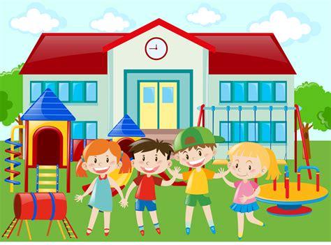 kindergarten students   playground   vectors clipart graphics vector art
