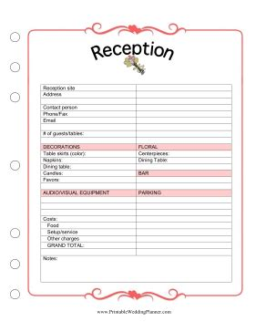 you can track all the arrangements for your reception with this wedding planner reception
