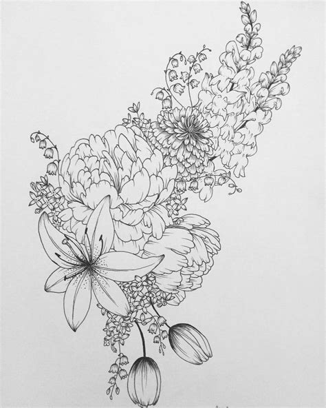 Lovely new shoulder piece! #lily #peony #snapdragon #lilac #tattoo #art #drawing #sketch #