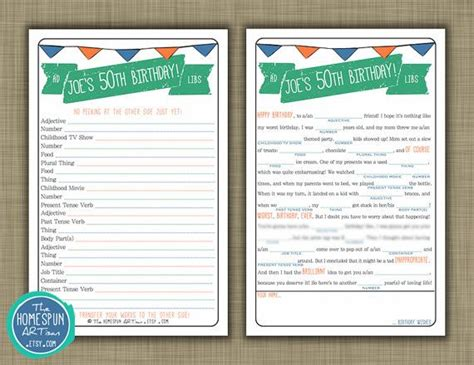 Personalized Adult Birthday Mad Lib Party Game
