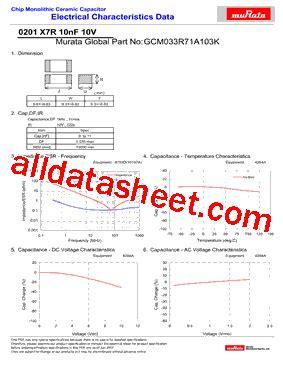 Gcm033r71a103k Datasheet(pdf)  Murata Manufacturing Co, Ltd
