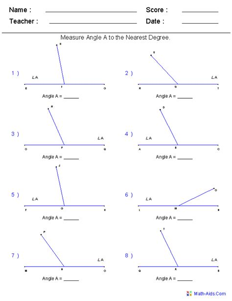 search results  measure angles worksheet