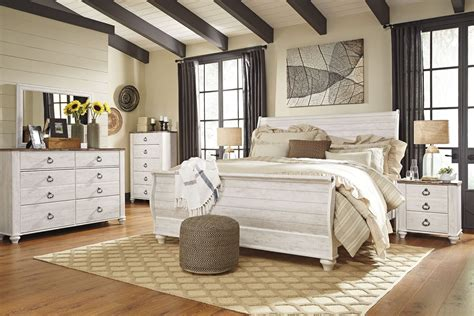 Bedroom Set By by Willowton Whitewash Sleigh Bedroom Set From