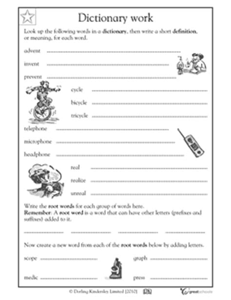using a dictionary root words worksheets activities