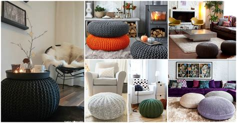 diy knitted poufs   unique accent   dream home