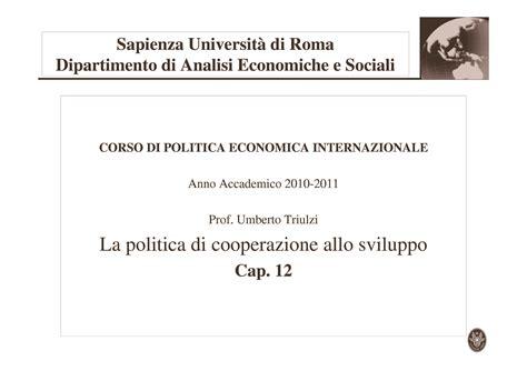 Dispense Politica Economica by Nuove Politiche Di Cooperazione Allo Sviluppo Dispense