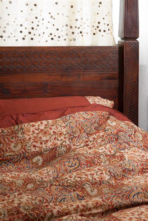 Kalamkari Gold  Indian Patchwork Duvet Cover  Natural Bed