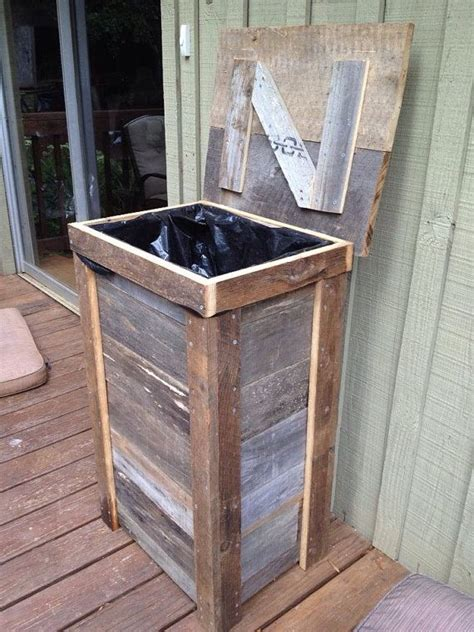 outdoor wooden trash bin plans woodworking projects plans