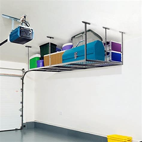 overhead garage storage racks reviews fleximounts 4x8 heavy duty overhead garage adjustable ceiling storage rack 96 ebay